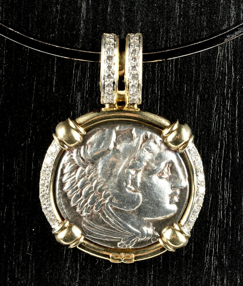 Alexander Tetradrachm, 18K Gold & Diamond Pendant
