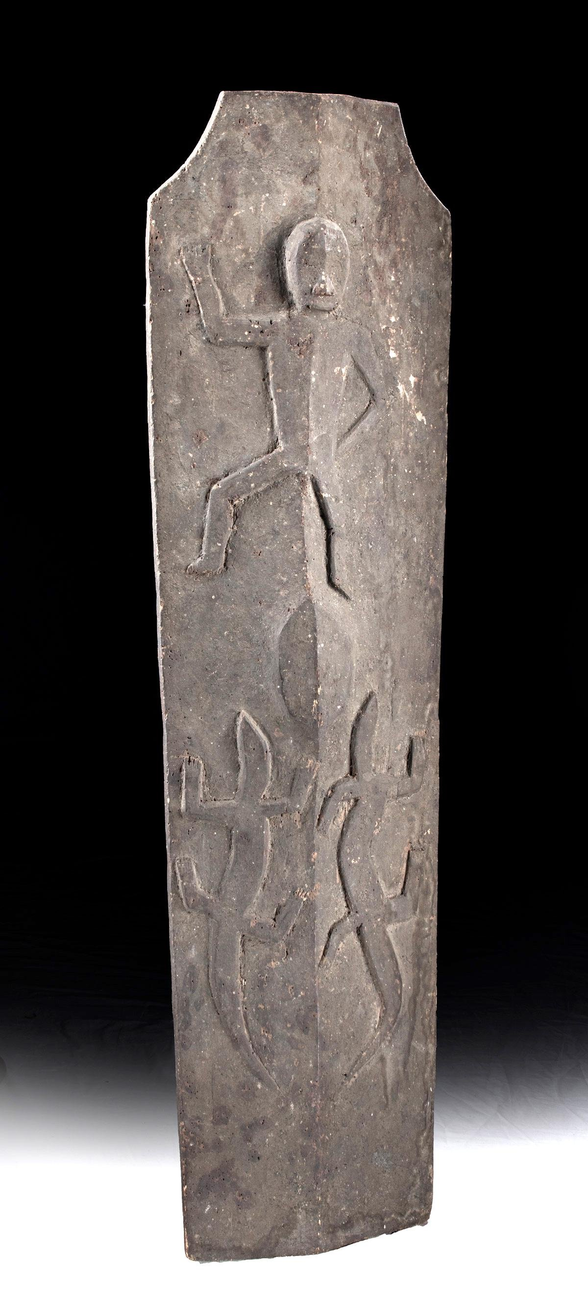 19th C. Ifugao Wooden Tower Shield w/ Abstract Figures