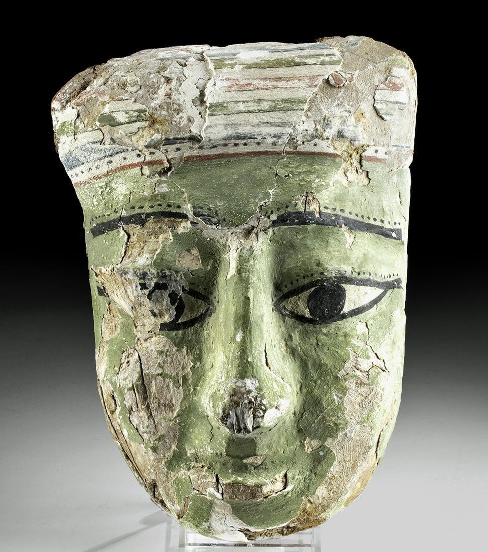 Rare Egyptian Cedar / Painted Gesso Sarcophagus Mask