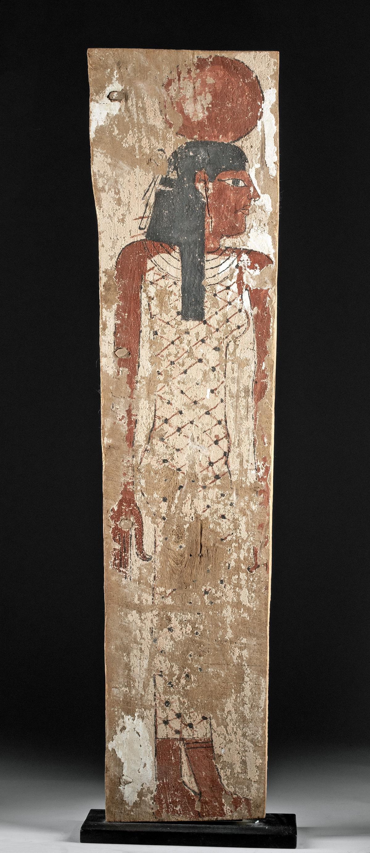 Egyptian Painted Cedar / Gesso Coffin Panel - Nut