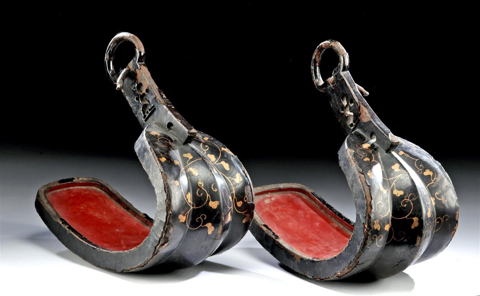 17th C. Japanese Edo Lacquered Iron Stirrups (Abumi)