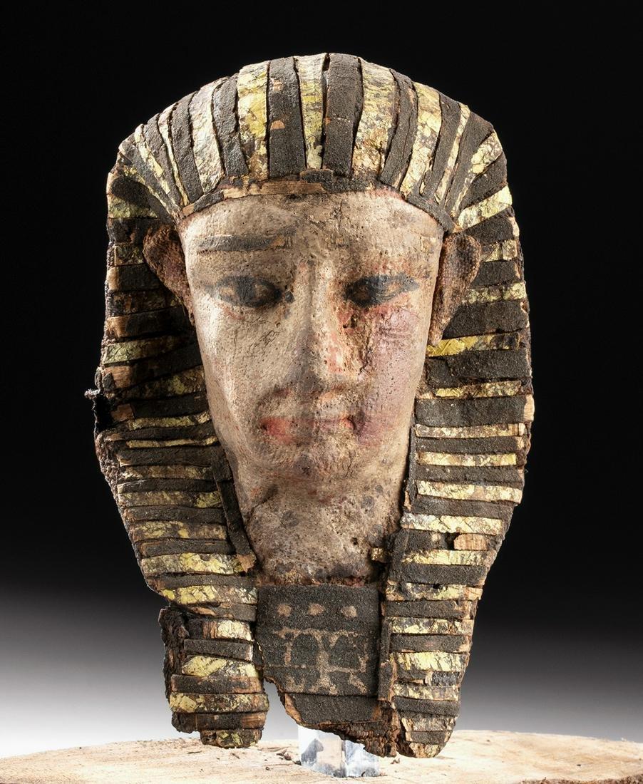 Rare Egyptian Ptolemaic Painted Linen Corn Mummy Head