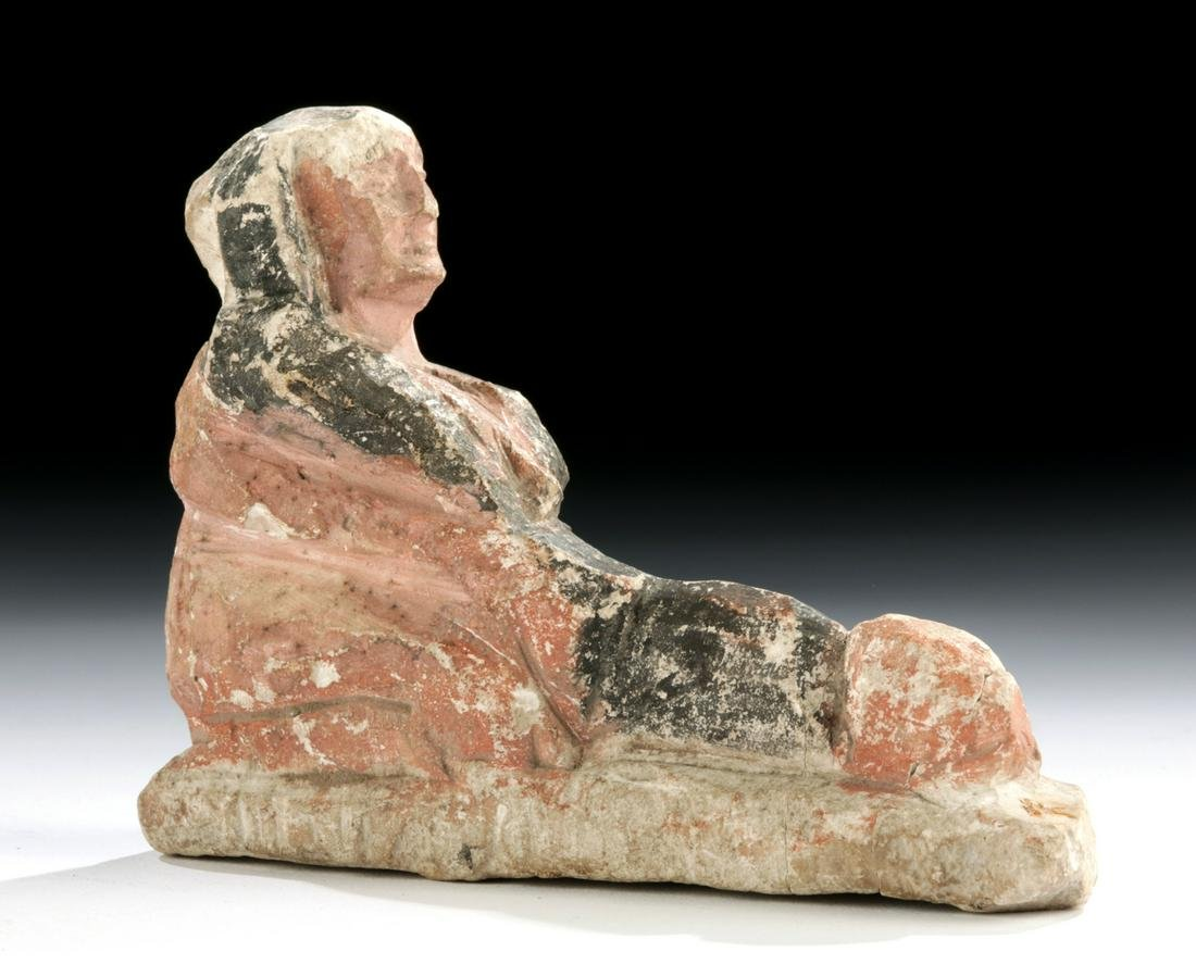 Egyptian Ptolemaic Painted Limestone - Erotic Horus