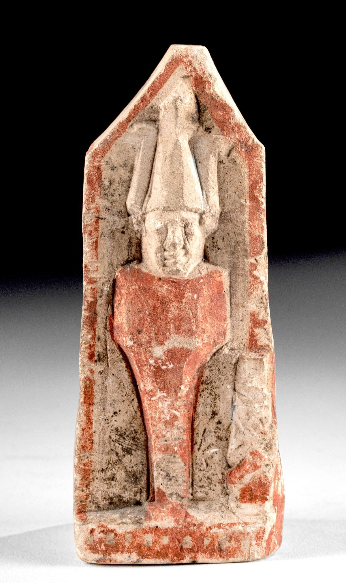 Miniature Egyptian Ptolemaic Painted Stone Sarcophagus