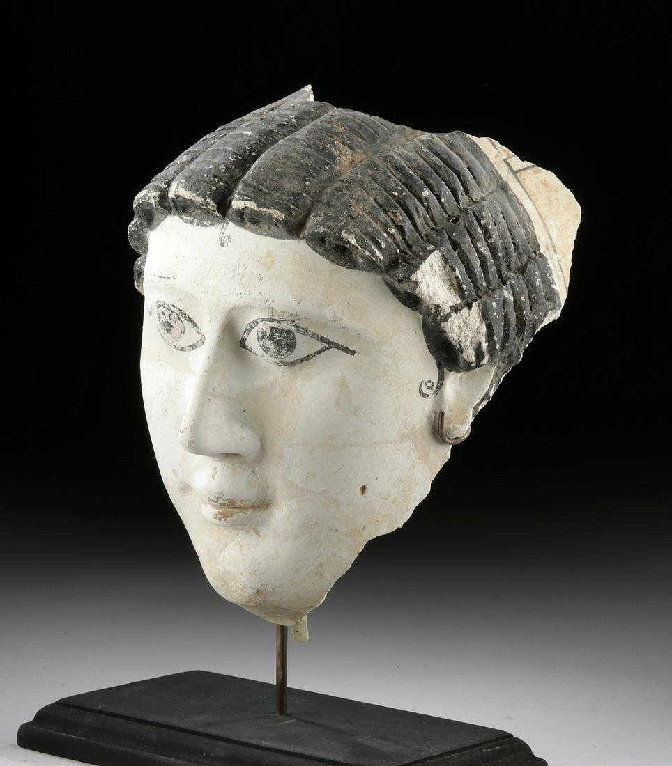 Romano-Egyptian Painted Stucco Funerary Mask of a Woman