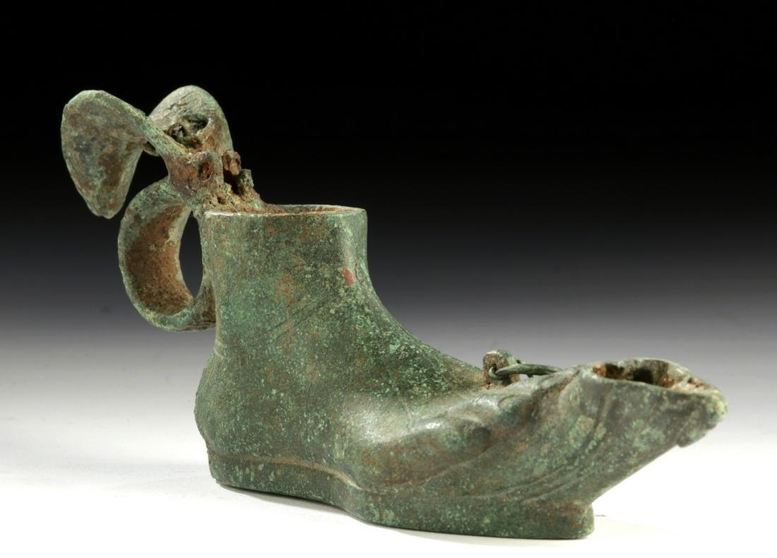 Roman Leaded Bronze Oil Lamp of Foot Form