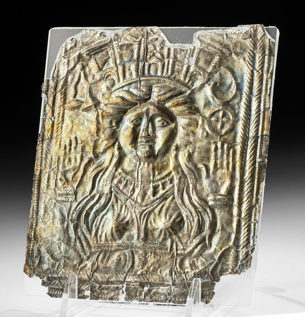 Roman Silver Repousse Panel w/ Cybele Wearing Crown