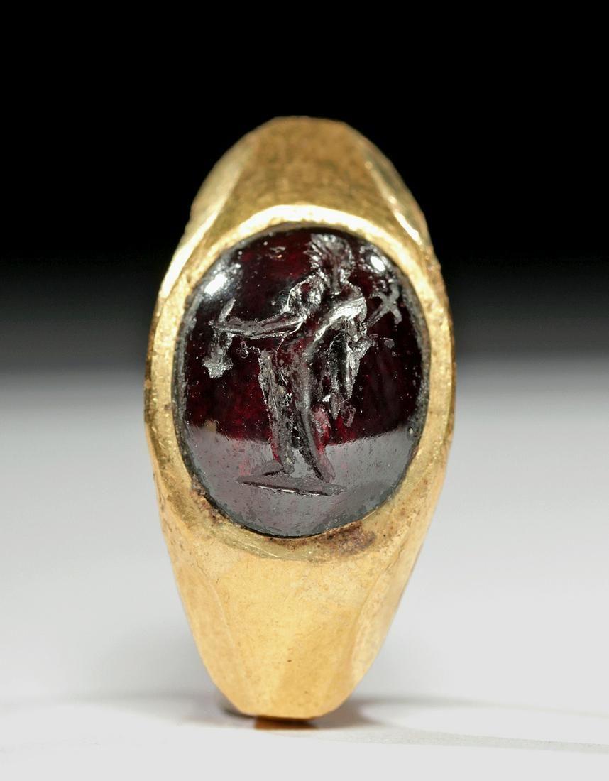 Roman 20K+ Gold Ring w/ Garnet Intaglio of Mercury