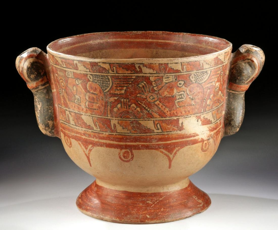 Large Costa Rican Polychrome Bowl w/ Zoomorphic Handles