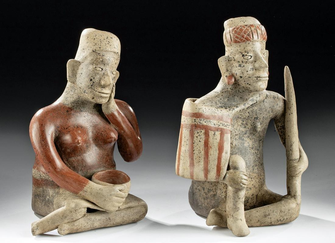 Matched Jalisco Ameca Etzatlan Pottery Seated Couple