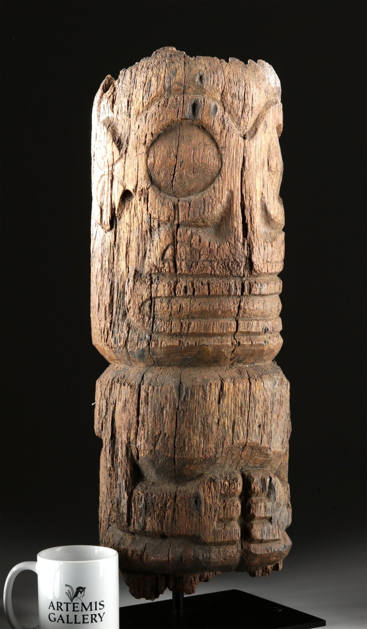 18th C. Marquesas Island Wood Tiki Fragment, ex-Bonhams
