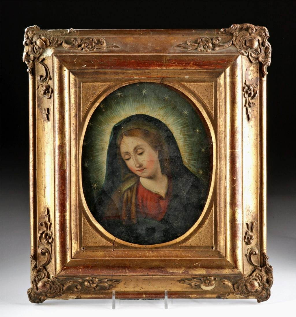 Framed 18th C. Mexican Painting of Madonna in Glory