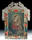 Framed 19th C. Mexican Retablo w/ Nicho - Mary & Jesus
