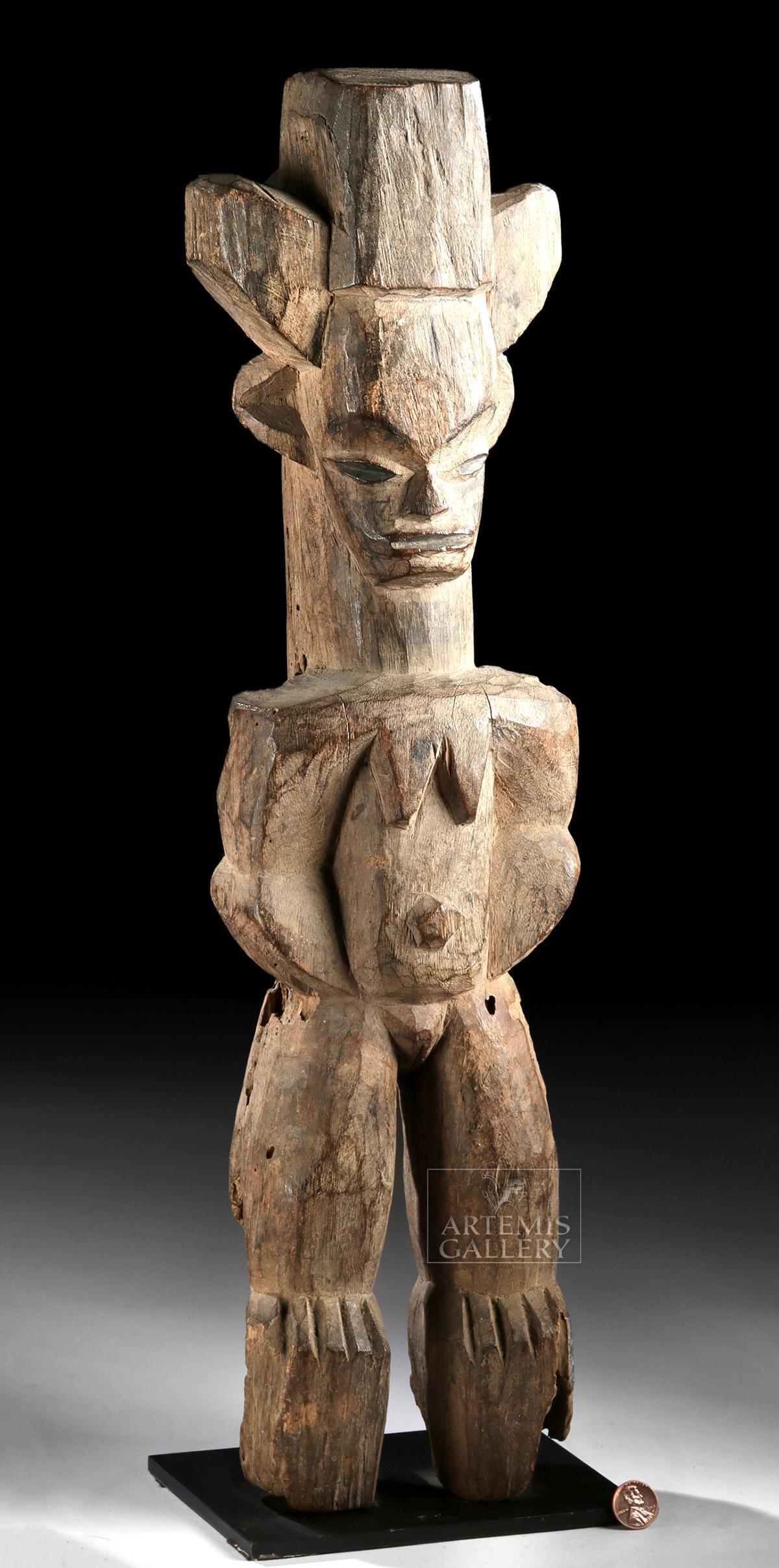 Tall 20th C. African Igbo Wood Alusi / Deity Figure