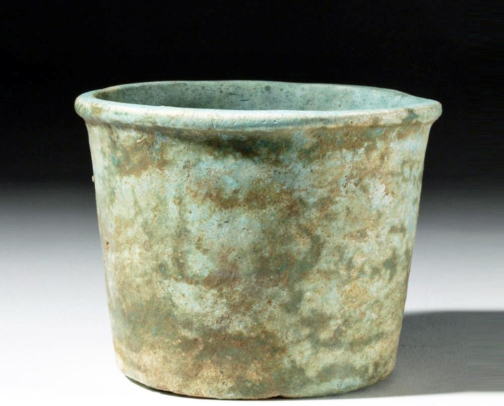 Egyptian Late Dynastic Blue Faience Offering Cup