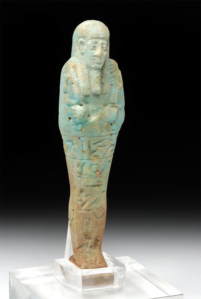 Tall Egyptian Faience Ushabti w/ Hieroglyphs