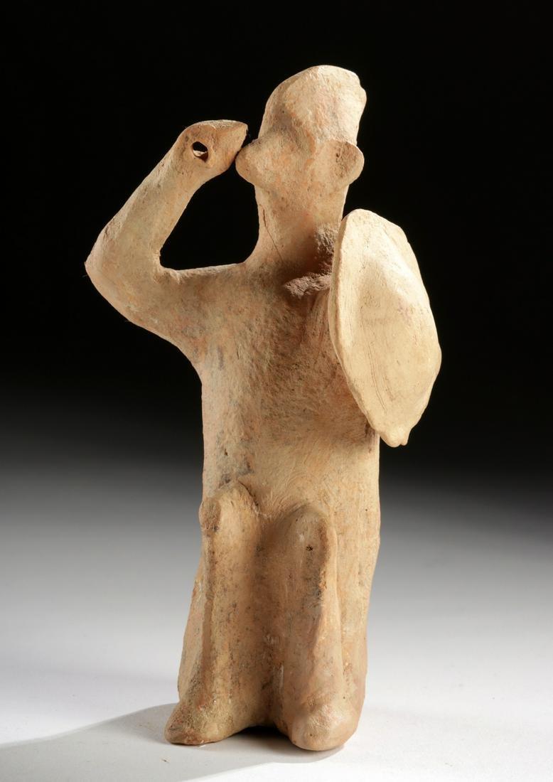 Boeotian Pottery Seated Figure - Dog Warrior w/ Shield