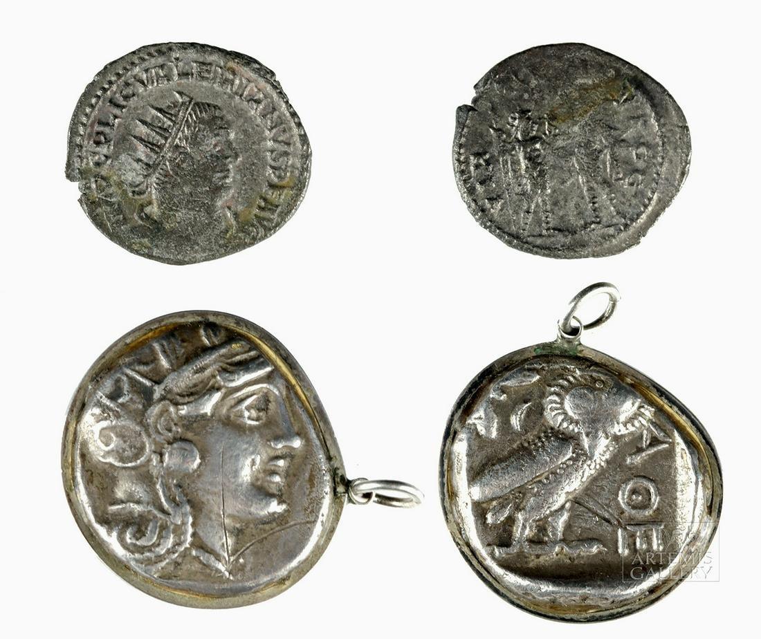 Greek Silver Tetradrachm & Roman Silver Valerian I Coin