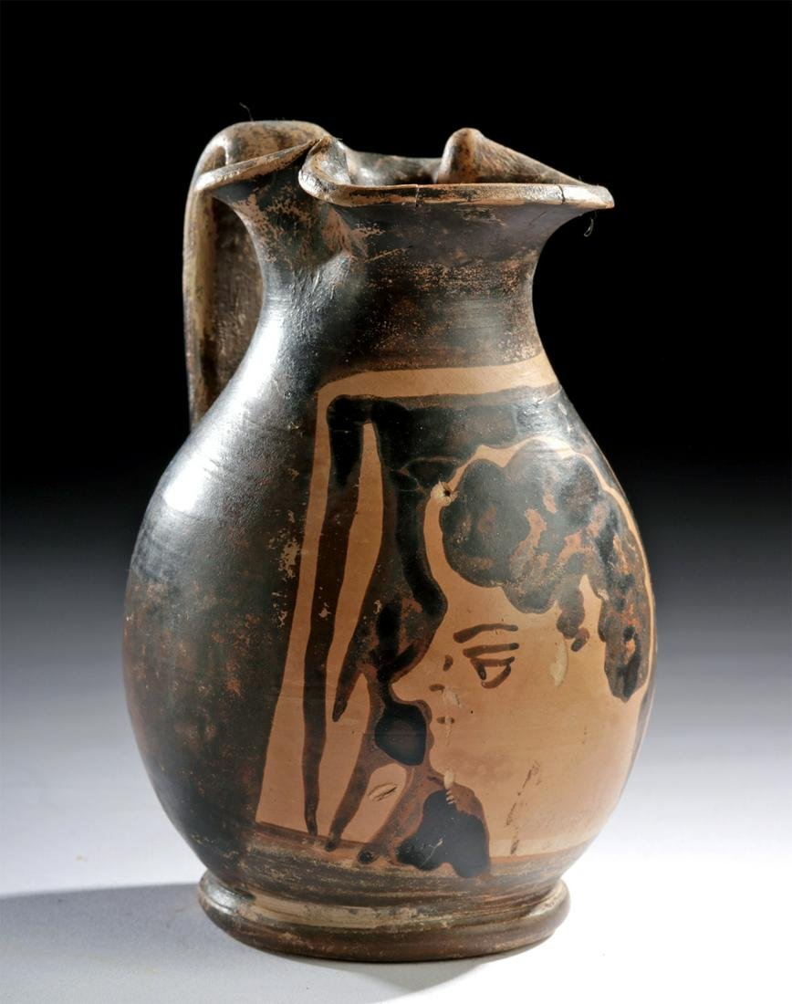 Apulian Red-Figure Trefoil Oinochoe - Youthful Satyr