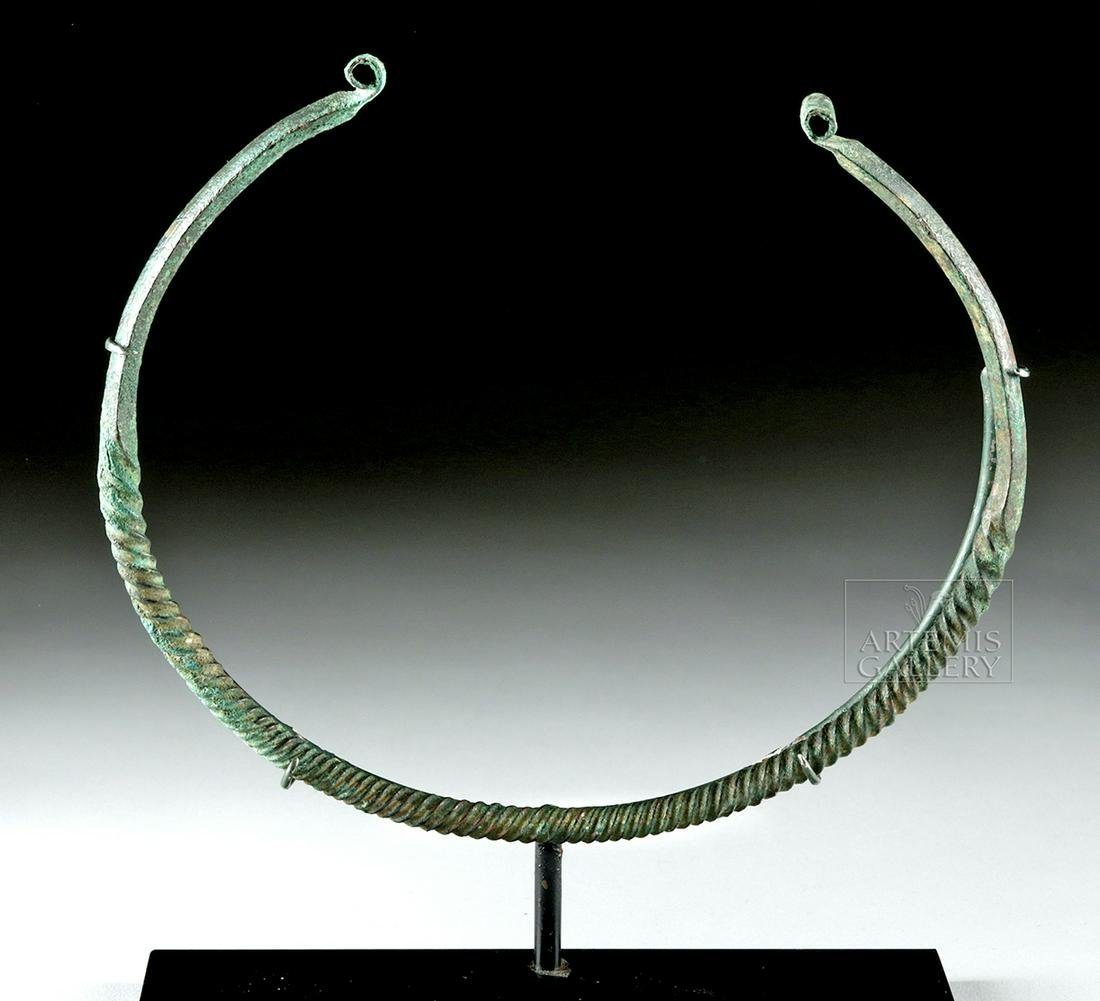 Hallstatt Bronze Twisted Torc Necklace, ex Bonhams