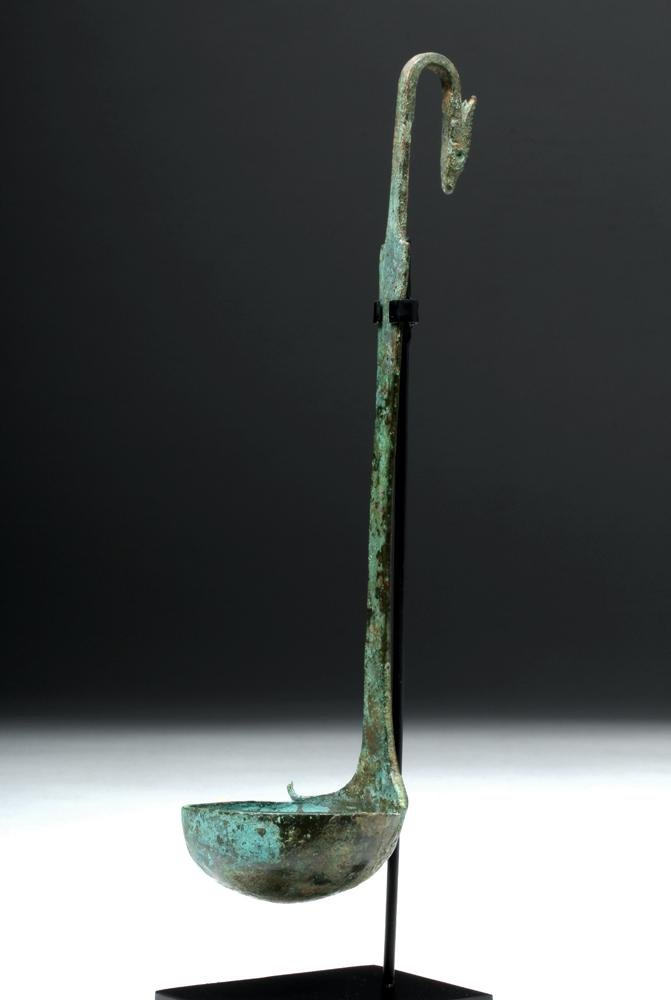 Etruscan Bronze Simpulum (Ladle) w/ Antelope Handle