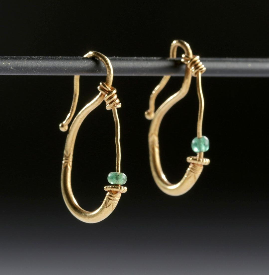 Lot of 2 Matched Roman Gold & Glass Bead Earrings - 2 g