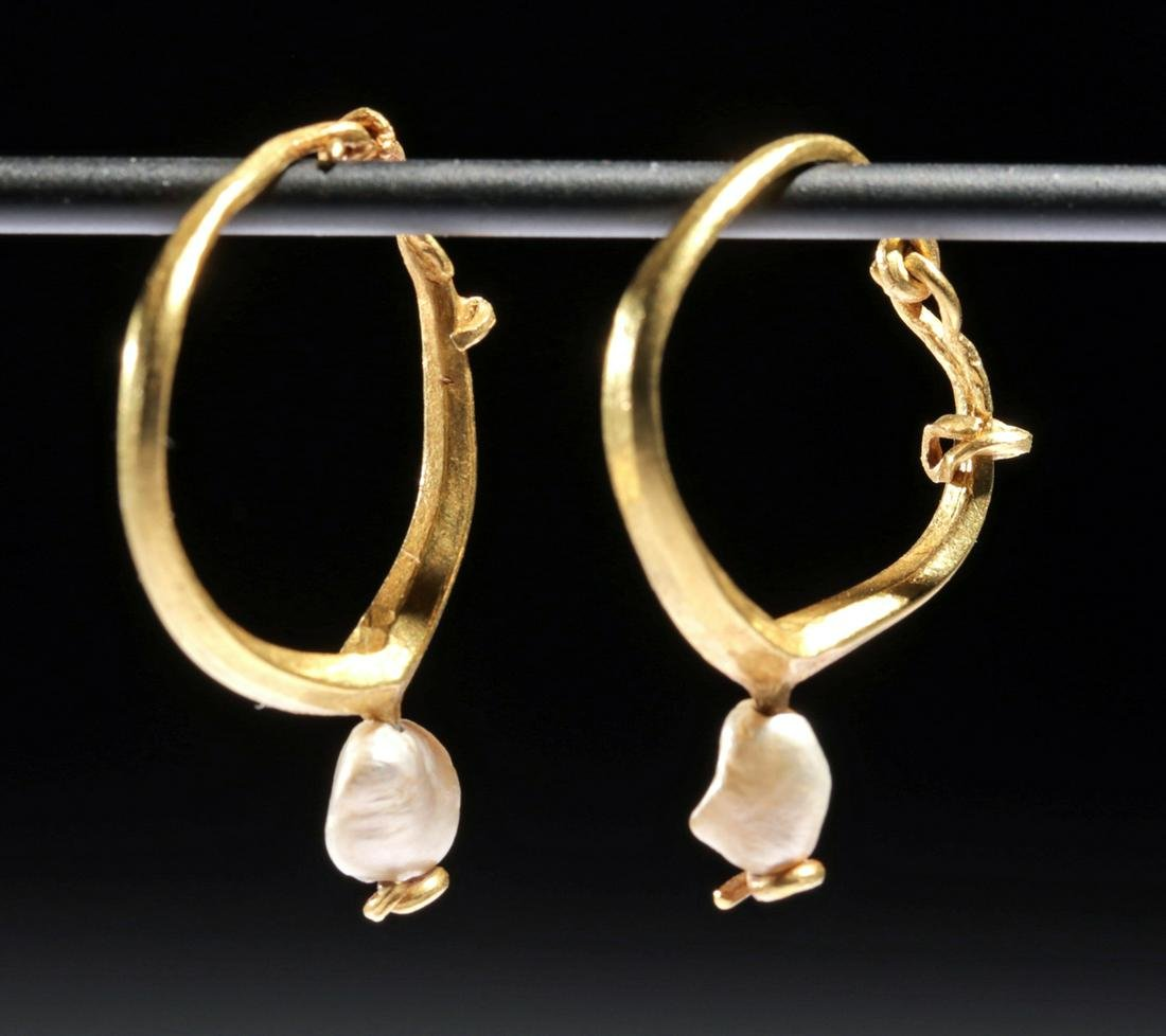 Published Roman Gold Hoop Earrings with Pearls - 4 g
