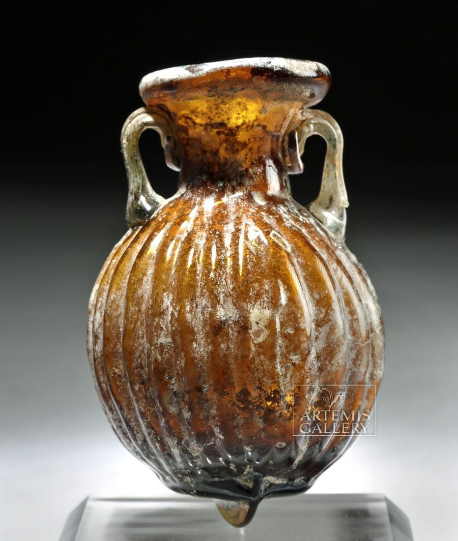 Small Choice Roman Sidonian Molded Glass Amphoriskos