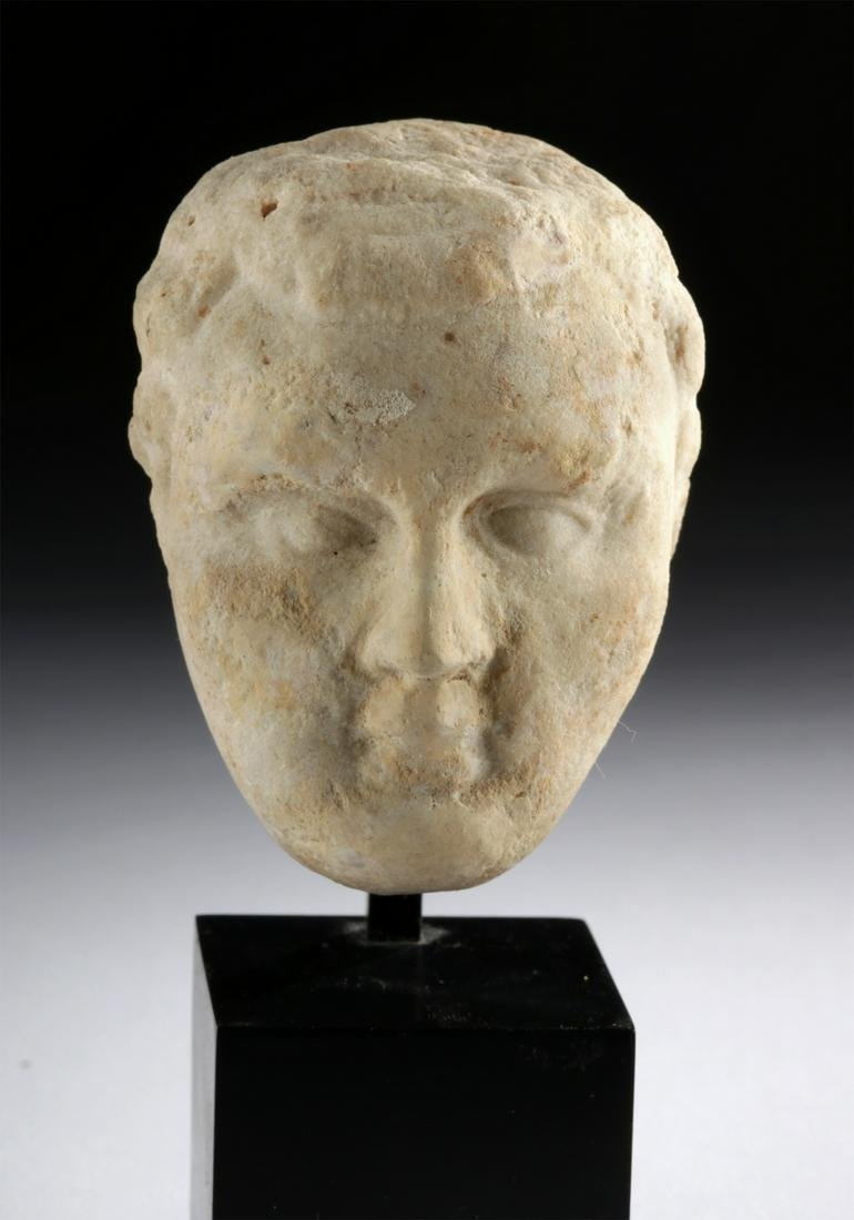 Miniature Roman Marble Head of a Male Youth