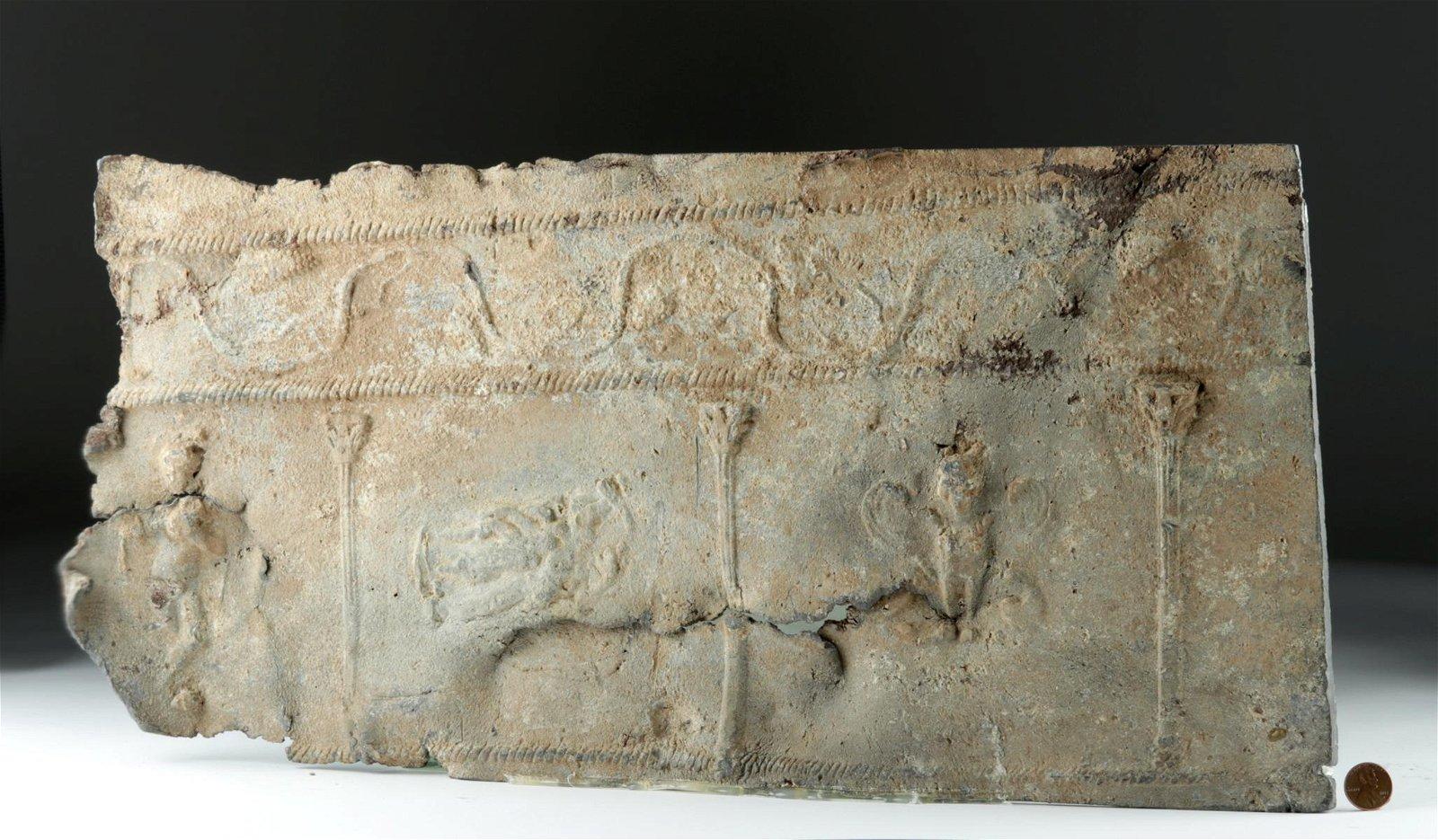 Roman Lead Sarcophagus Panel - Humans, Columns