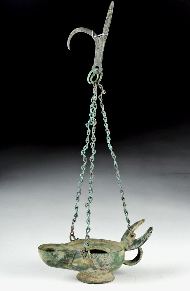 Roman / Byzantine Bronze Hanging Oil Lamp