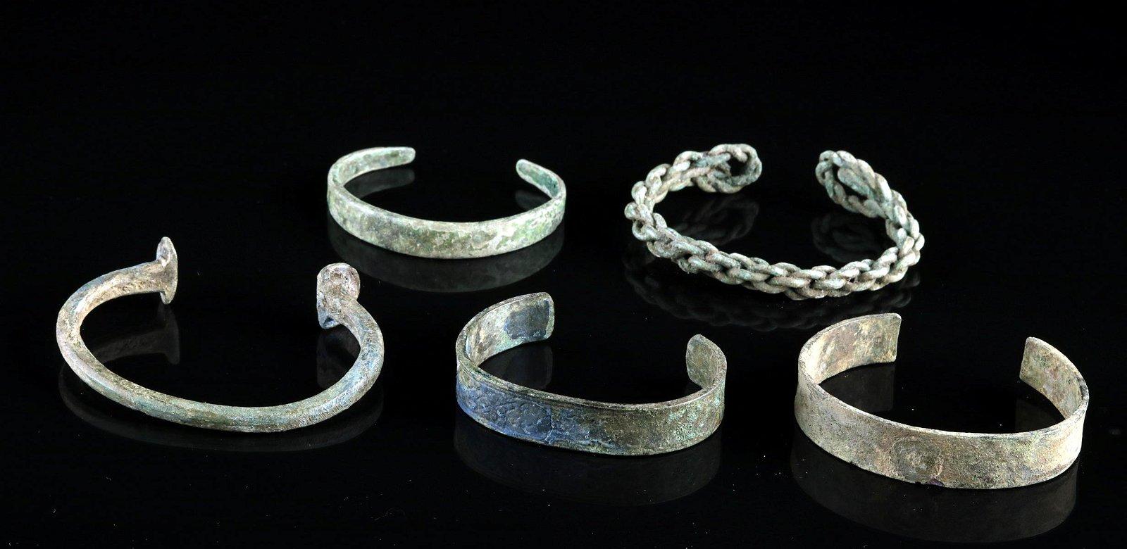 Lot of 5 Viking Bronze / Brass Bracelets
