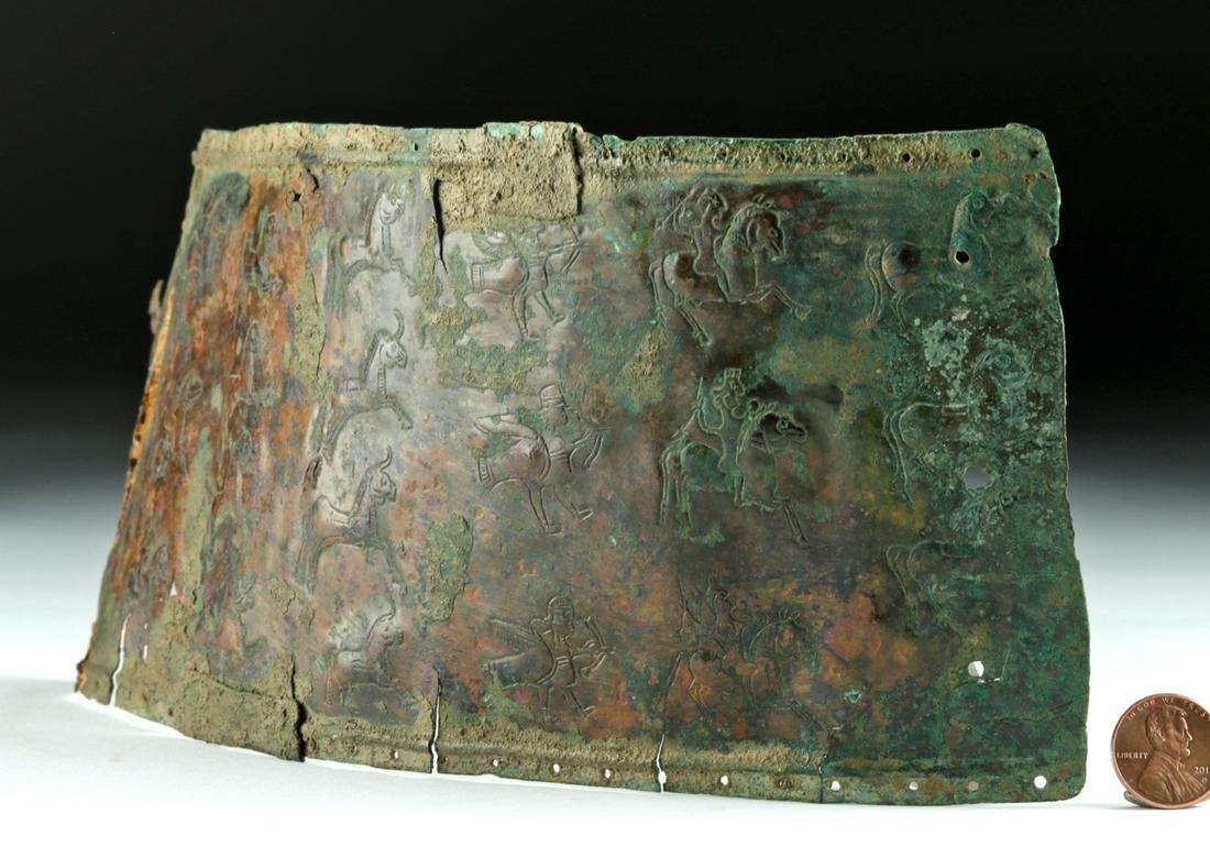 Rare Syro-Hittite Bronze Belt - Stamped Stag Hunt