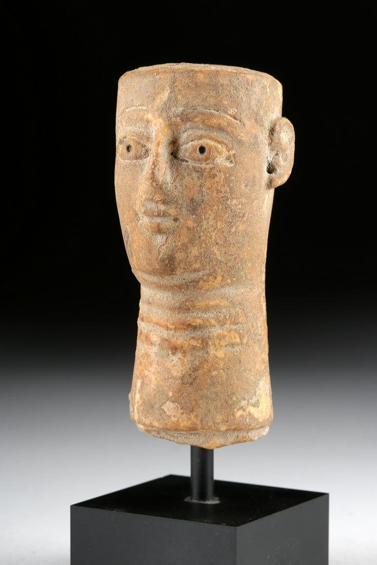 South Arabian Qatabanian Stone Idol Head