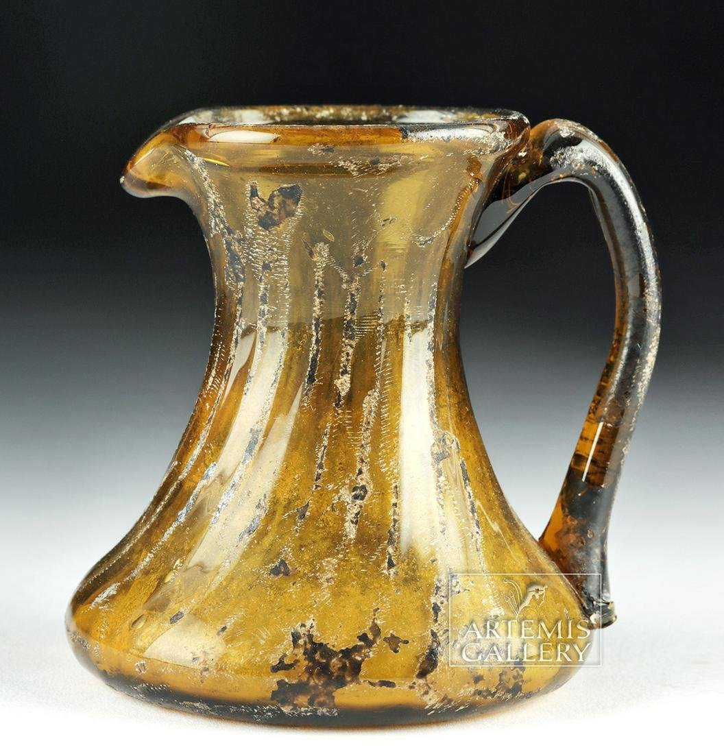 Near-Miniature 13th C. Islamic Glass Pitcher