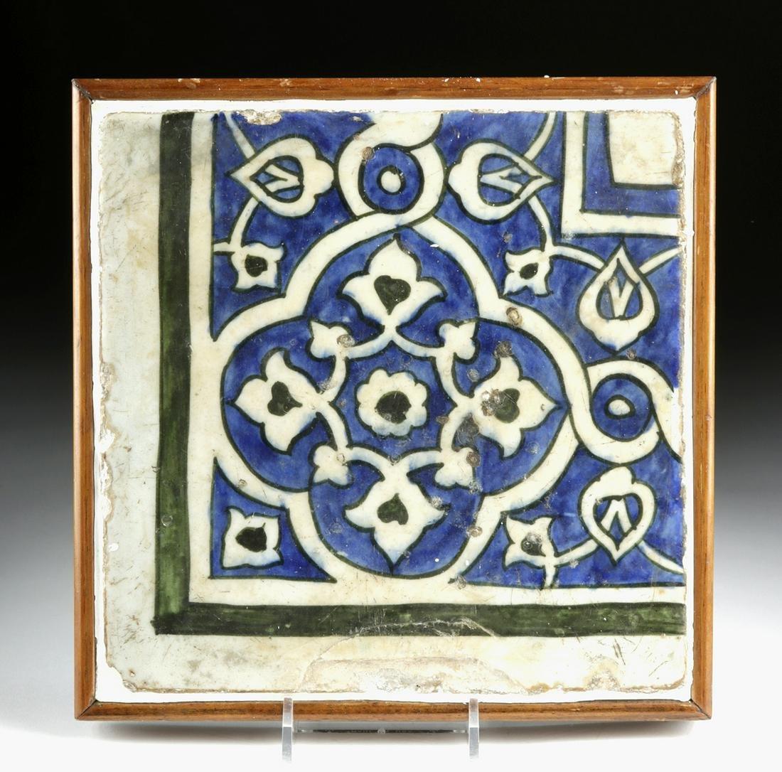 16th C. Ottoman Empire Glazed Pottery Tile
