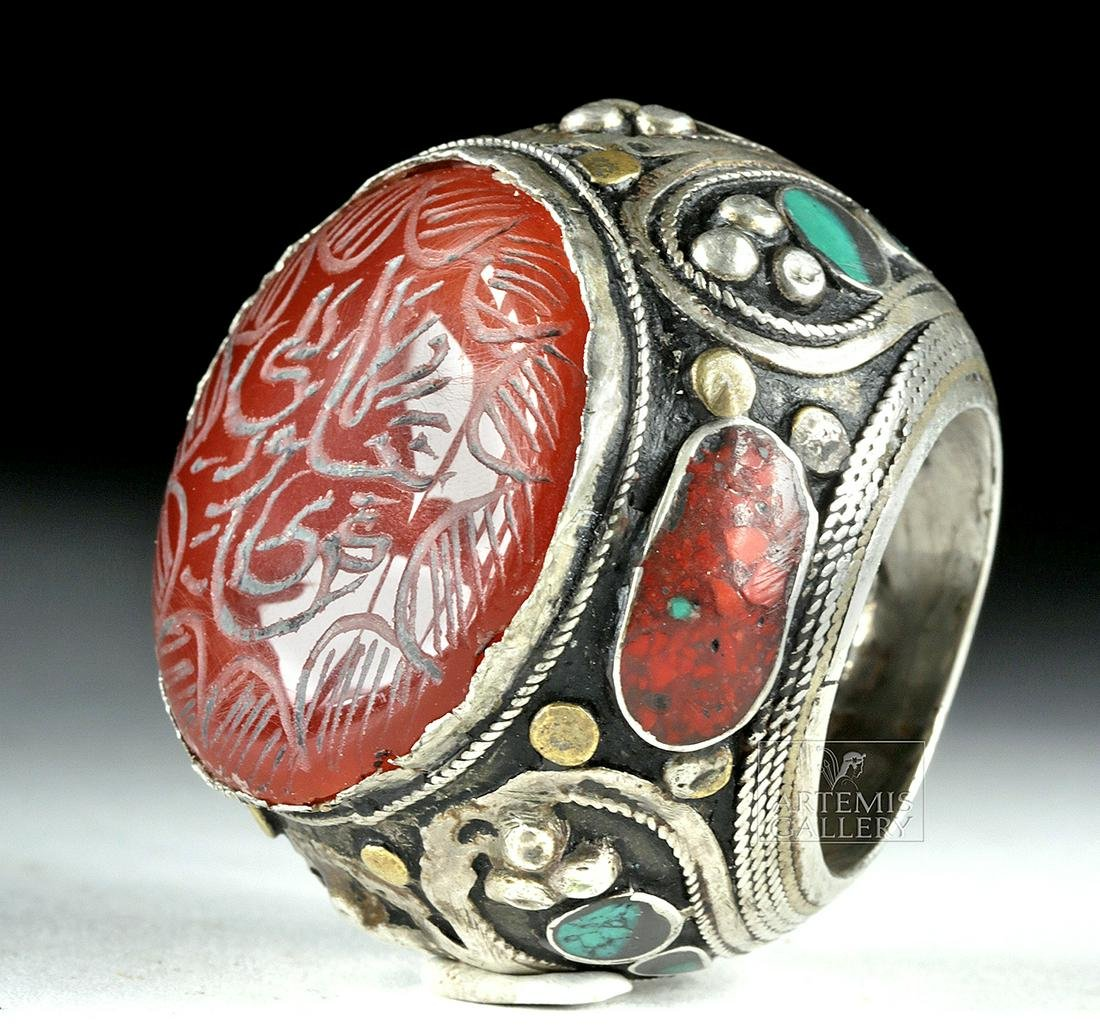 Massive Early 20th C. Bedouin Silver Wedding Ring