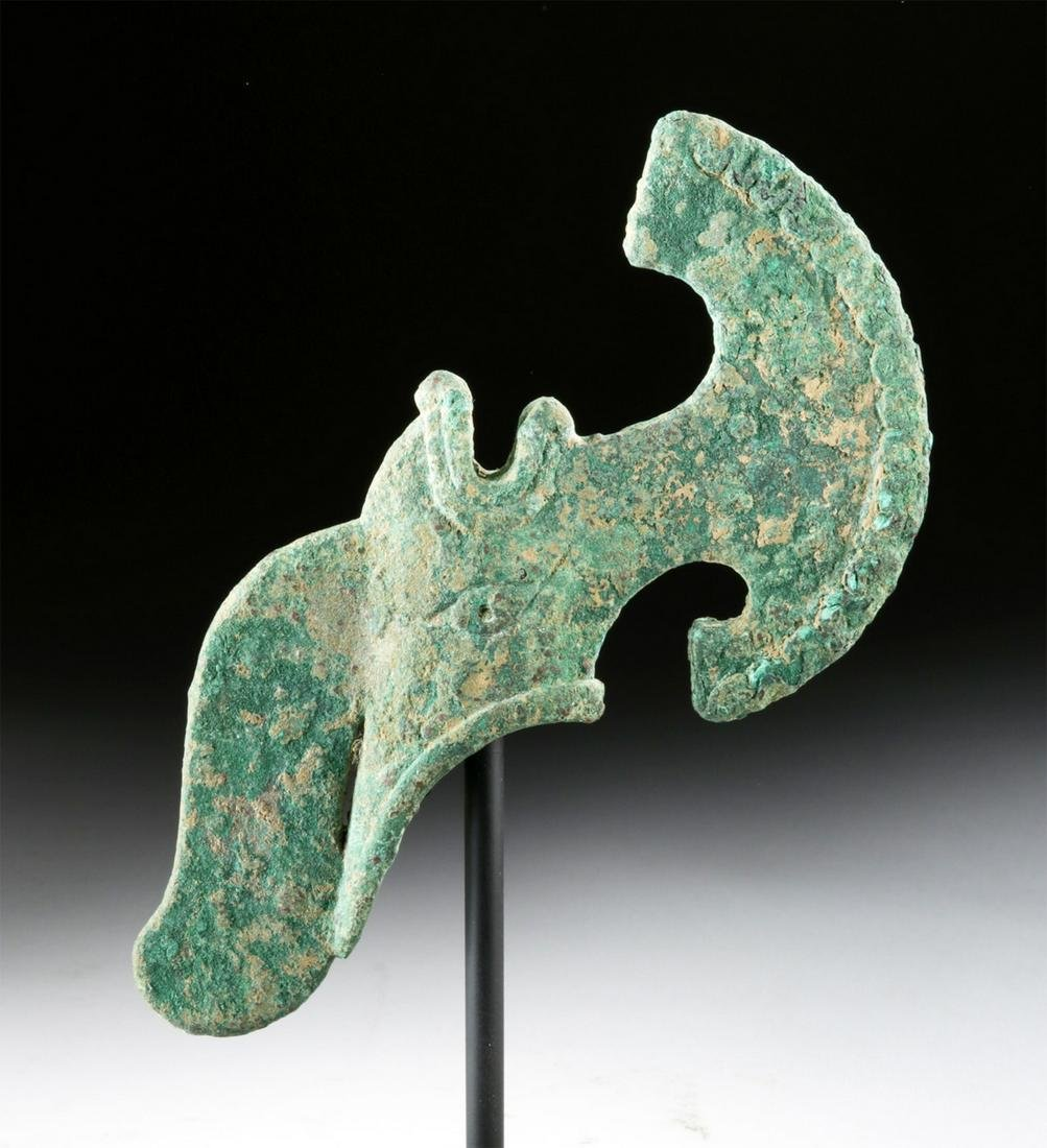 Bactrian Copper Axe Head, Crescent-Shaped