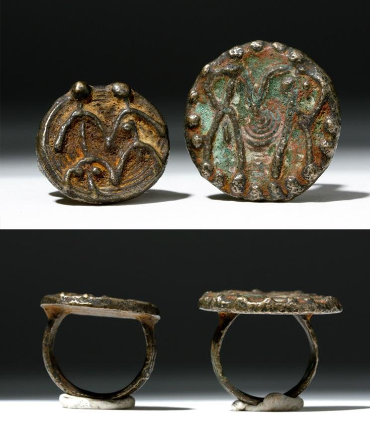 Lot of 2 Luristan Bronze Rings - People Side by Side