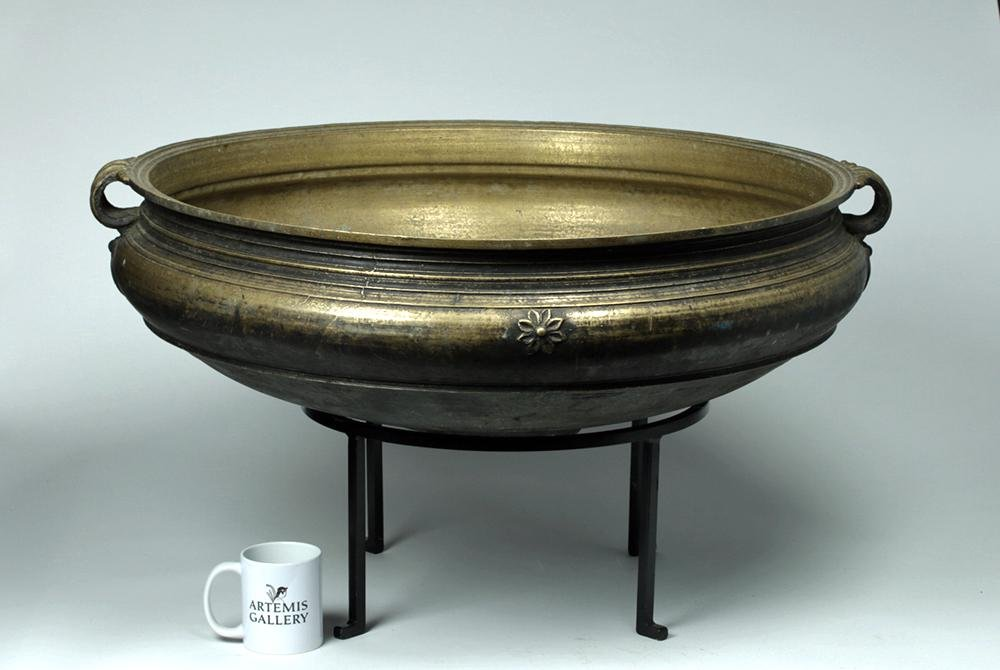 Huge 19th C. Indian Brass Cooking Urli / Cooking Pot