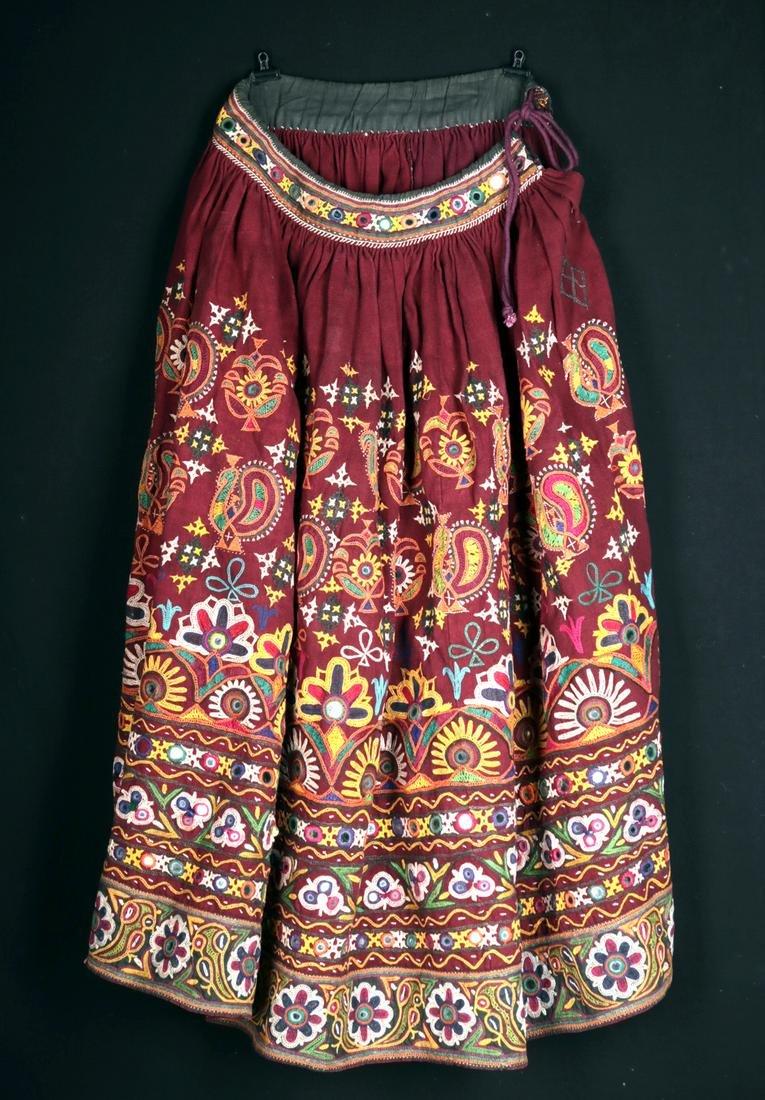 Beautiful 1960'S Indian Kutchi Embroidered Skirt