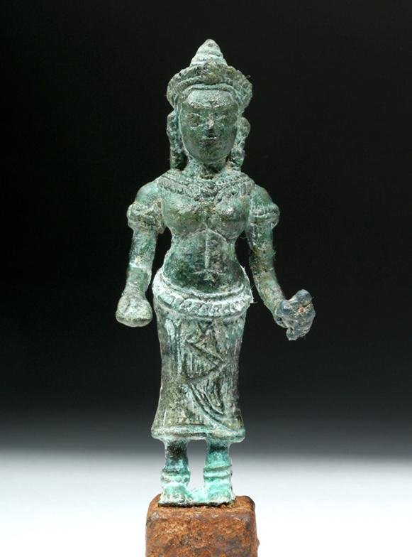 12th C. Khmer Bronze Statuette - Devi on Iron Pedestal