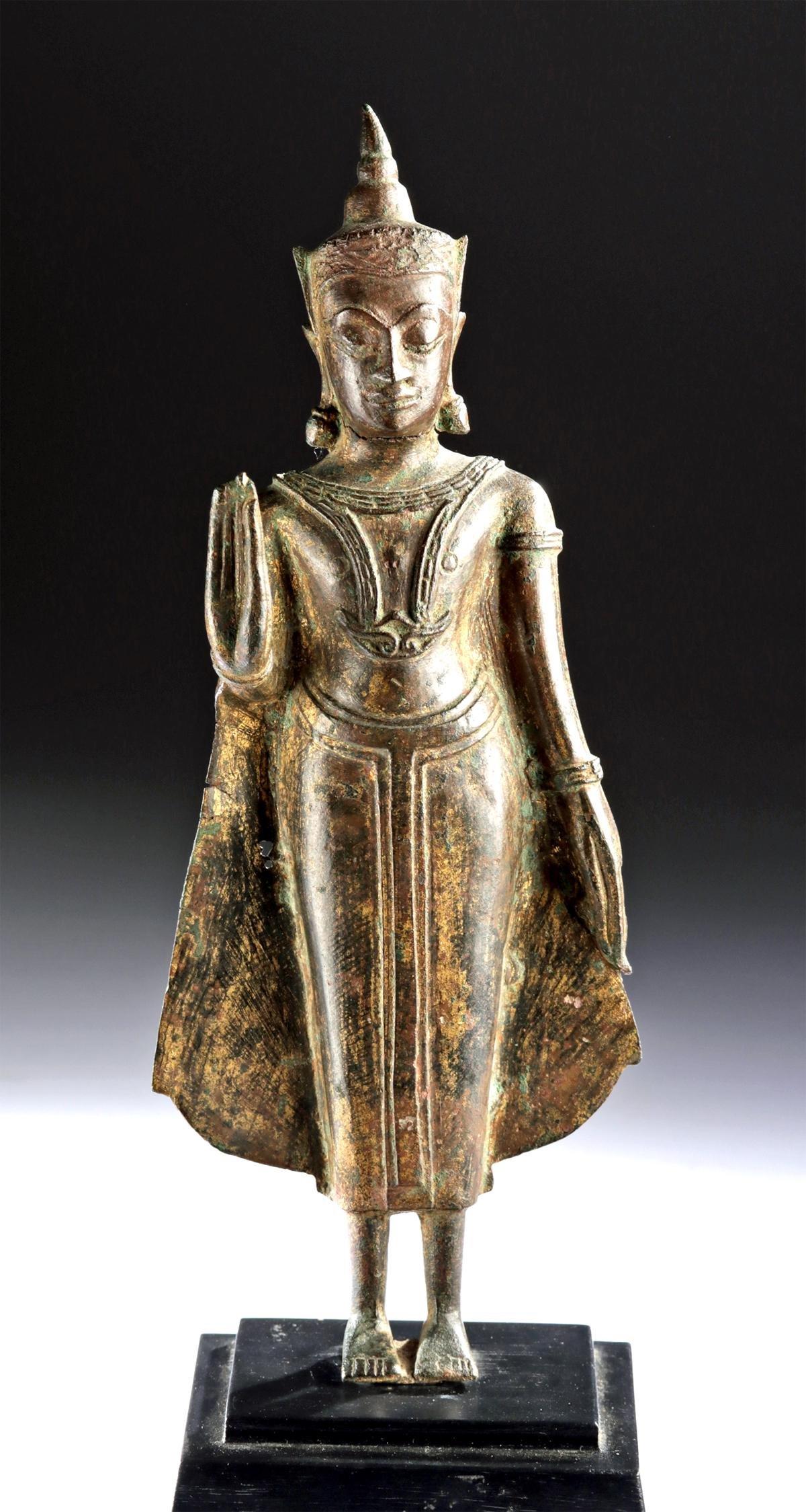 17th C. Thai Ayutthaya Gilded Brass Standing Buddha
