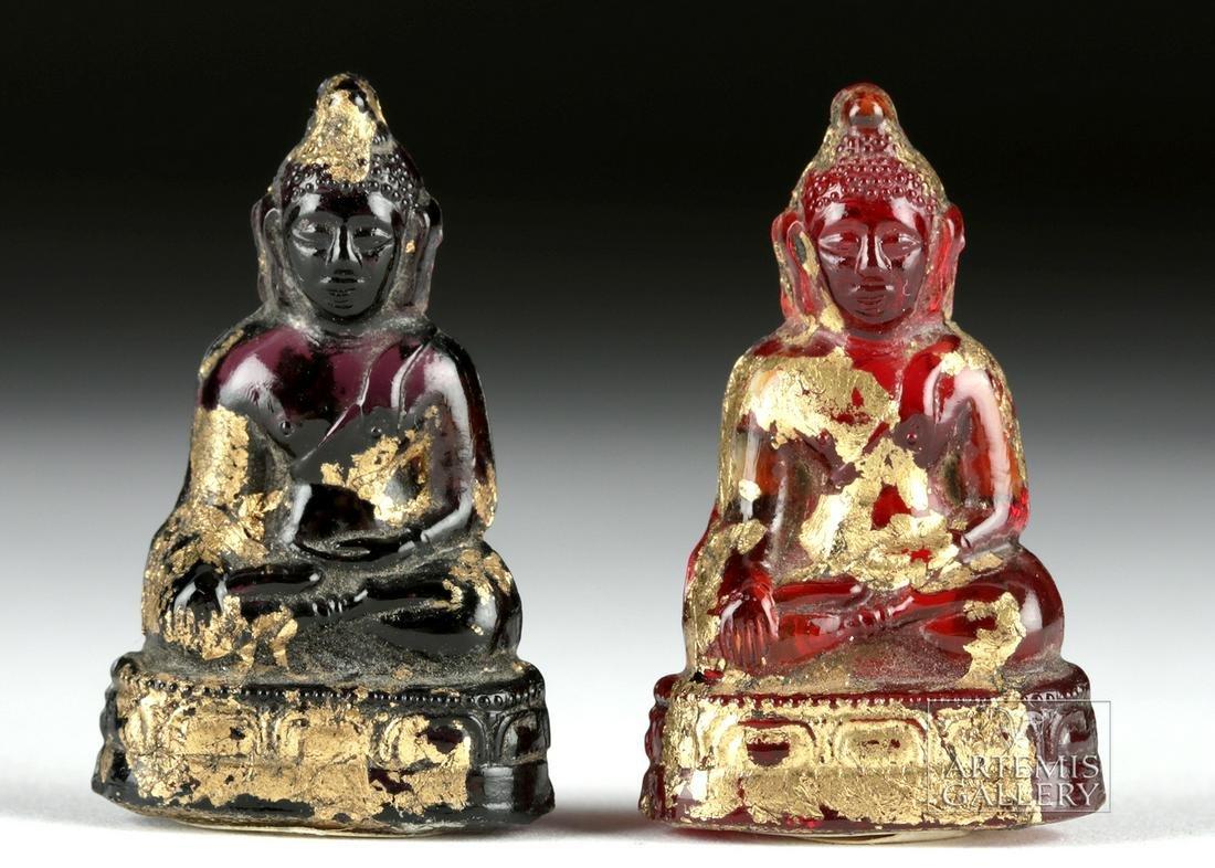 Miniature 19th C. Siamese Gilded Glass Buddhas (2)