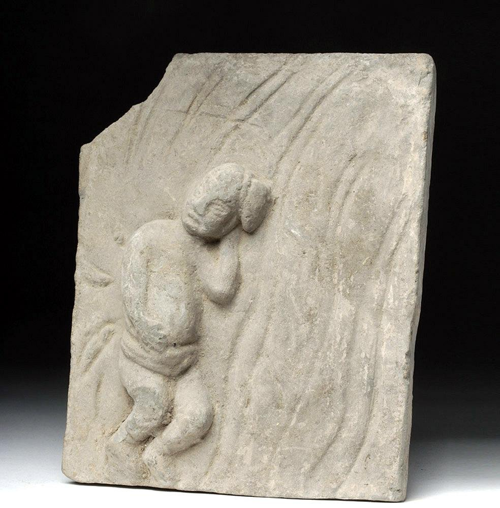 Chinese Song Dynasty Pottery Brick of Child