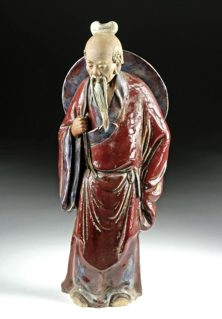 19th C. Chinese Qing Dynasty Glazed Terracotta Figure