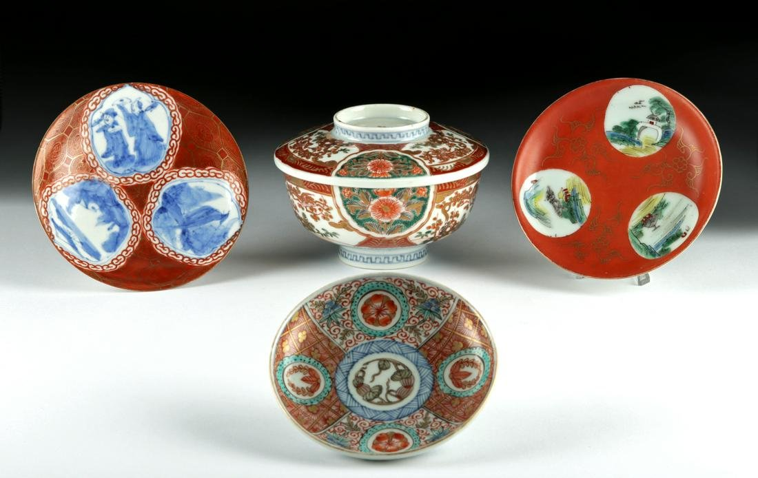 Lot of Four 19th C Chinese Qing Dynasty Ceramic Vessels