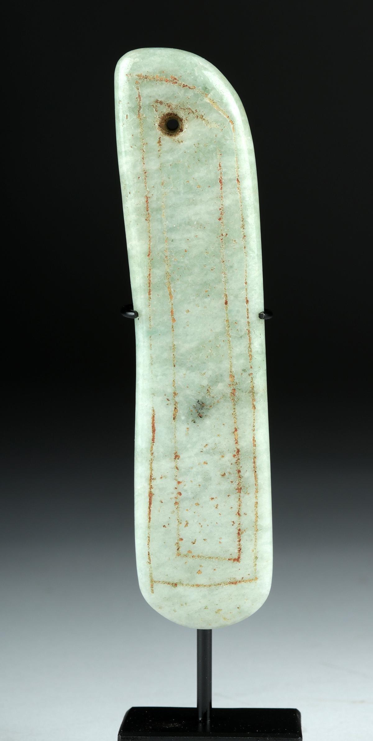 Gorgeous Olmec Jade Pendant w/ Incised Designs