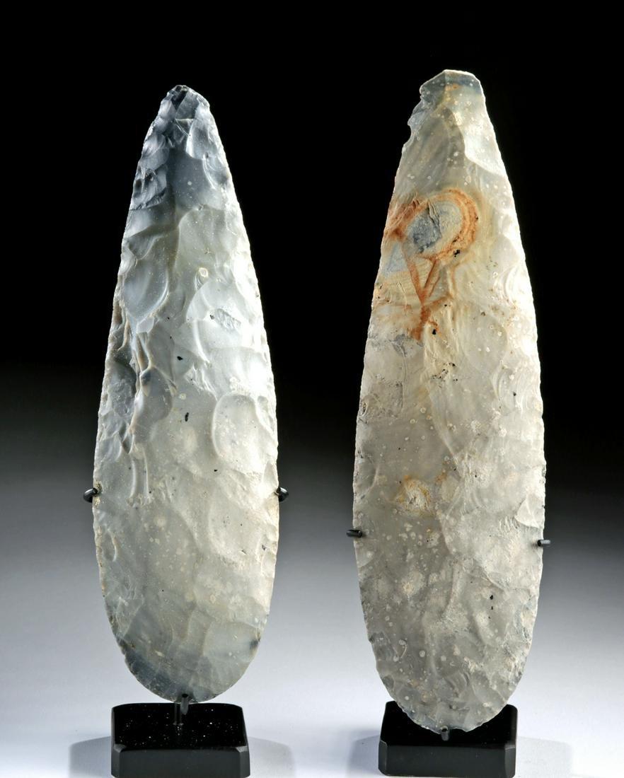 Lot of 2 Large Maya Knapped Chert Tools