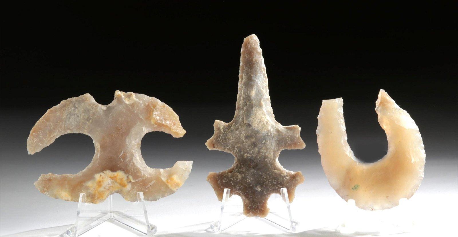 Lot of 3 Maya Eccentric Flints - Lizard & Other Shapes